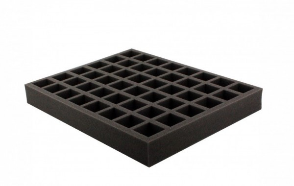 Schaumstoffeinlage 50 mm mit 48 quadratischen Fächer und angeklebtem Boden Full-